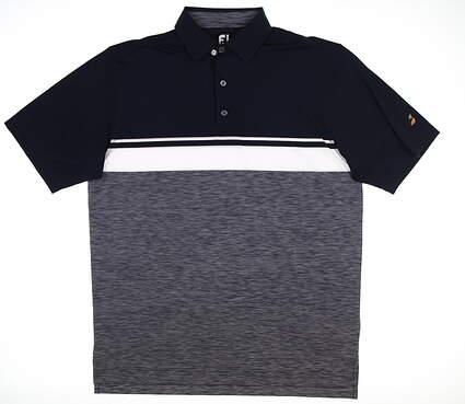 New W/ Logo Mens Footjoy Lisle Color Block Golf Polo Large L Navy Blue 22745 MSRP $75