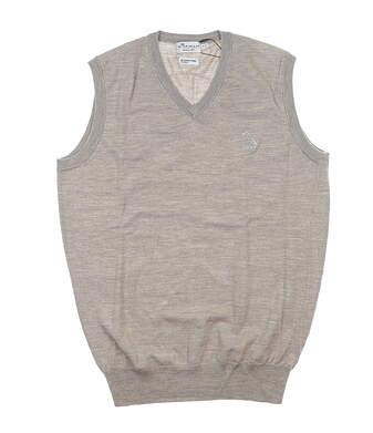 New W/ Logo Mens Peter Millar Sweater Vest Small S Tan MF17S32 MSRP $130