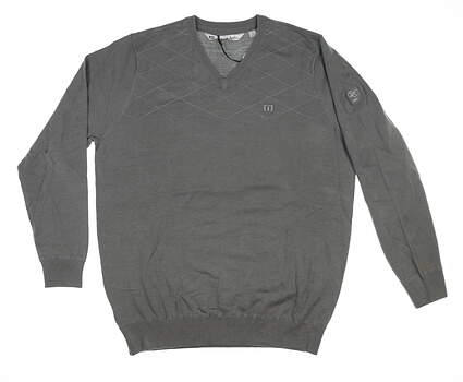 New W/ Logo Mens Travis Mathew Sweater Large L Stone 1ML081 MSRP $130