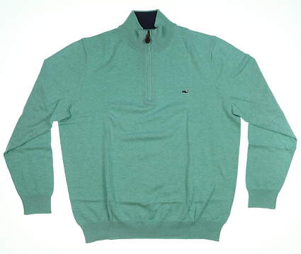 New Mens Vineyard Vines Cotton 1/4 Zip Sweater Medium M Hammock Green MSRP $135