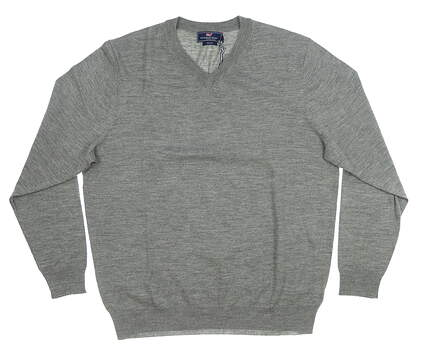 New Mens Vineyard Vines Merino V-Neck Sweater Large L Gray 1E0229 MSRP $145
