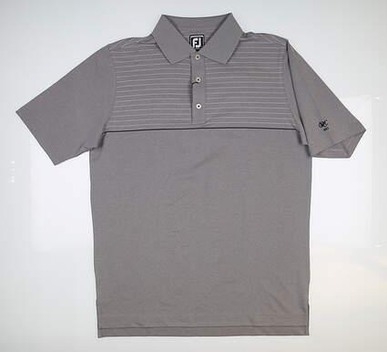 New W/ Logo Mens Footjoy Lisle Pinstripe Golf Polo Large L Grey 25521 MSRP $80