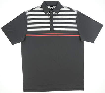 New Mens Footjoy Lisle Golf Polo Large L Gray/Coral/White 25777 MSRP $90