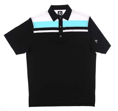New W/ Logo Mens Footjoy Golf Polo Medium M Black/Blue/White MSRP $90