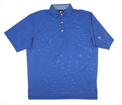 New W/ Logo Mens Footjoy Pique Golf Polo Large L Blue 25758 MSRP $90