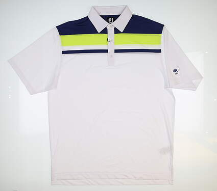 New W/ Logo Mens Footjoy Golf Polo Large L White/Navy/Green 25752 MSRP $90