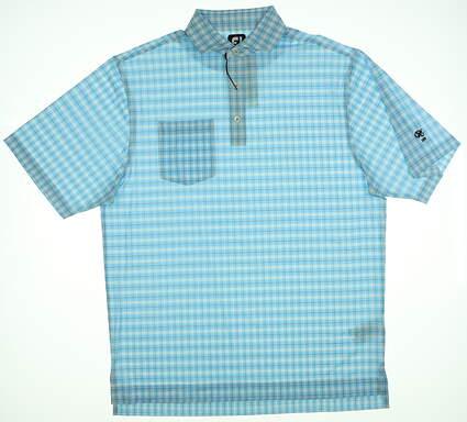 New W/ Logo Mens Footjoy Golf Polo Medium M Blue 25542 MSRP $80