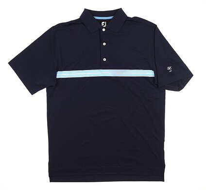 New W/ Logo Mens Footjoy Lisle Golf Polo Medium M Navy Blue 25524 MSRP $80