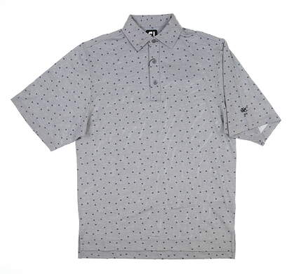New W/ Logo Mens Footjoy Pique Floral Golf Polo Small S Gray 25527 MSRP $80