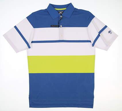 New W/ Logo Mens Footjoy Golf Polo Medium L Marlin/White/Citrus MSRP $90