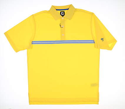 New W/ Logo Mens Footjoy Golf Polo Large L Yellow/Blue 25526 MSRP $80