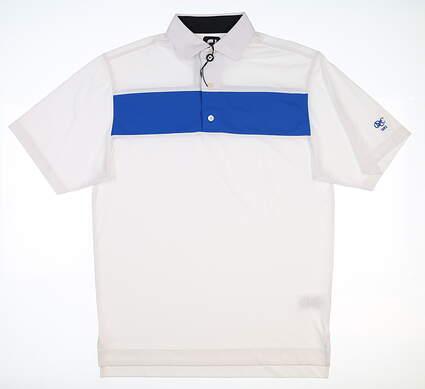 New W/ Logo Mens Footjoy Golf Polo Large L White/Blue 25548 MSRP $80