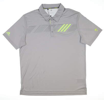 New W/ Logo Mens Adidas 360 Print Golf Polo Large L Gray DT3611 MSRP $75