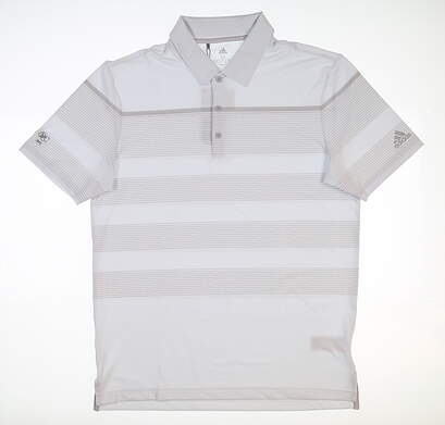 New W/ Logo Mens Adidas Ultimate 365 Polo X-Large XL Light Gray DQ2384 MSRP $90