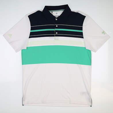 New W/ Logo Mens Adidas Golf Polo Medium M White/Navy/Green MSRP $85