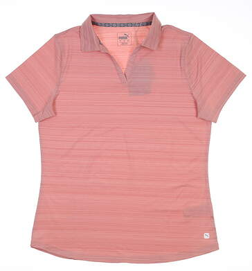 New Womens Puma Coastal Golf Polo Large L Bridal Rose 595136 MSRP $58
