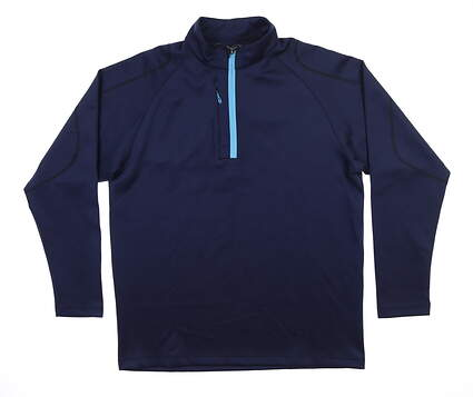 New Mens Sun Mountain Termaflex 1/4 Zip Pullover Large L Navy Blue MSRP $100