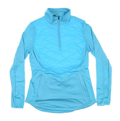 New Womens Straight Down 1/4 Zip Pullover Small S Blue W60266 MSRP $125