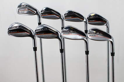 Cobra King F7 Iron Set 5-PW GW SW FST KBS Tour 90 Steel Stiff Right Handed 39.25in