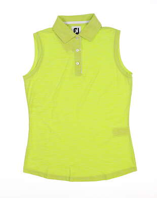 New Womens Footjoy Sleeveless Interlock Golf Polo X-Small XS Lime 27399 MSRP $65