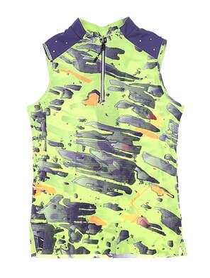 New Womens Jamie Sadock Meteorite Sleeveless Golf Polo Medium M Green MSRP $89