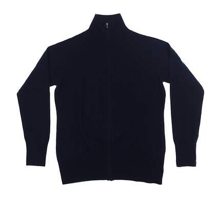 New Womens Peter Millar Cashmere Full-Zip Sweater Medium M Navy MSRP $199