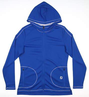 New Womens Footjoy Jersey Full Zip Sweatshirt Large L Royal 27576 MSRP $125