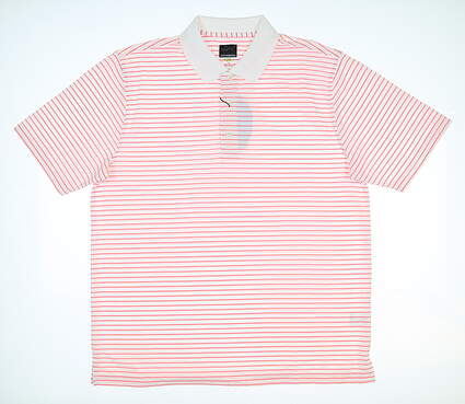 New Mens Greg Norman Pro Series Polo Large L White/Red G7S9K456 MSRP $50