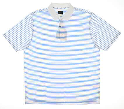 New Mens Greg Norman Pro Series Polo Large L White/Blue G7S9K456 MSRP $50