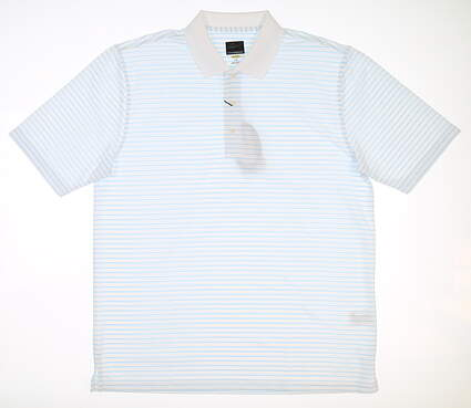 New Mens Greg Norman Pro Series Polo Large L White/Sky Blue G7S9K456 MSRP $50