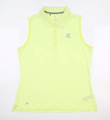 New W/ Logo Womens Adidas Golf Sleeveless Polo Large Yellow CE3074 MSRP $55