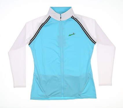 New W/ Logo Womens Footjoy Golf Full ZIp Jacket Small Blue/White 27578 MSRP $95