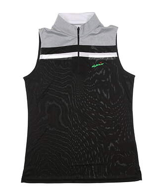 New W/ Logo Womens Footjoy Sleeveless Polo Medium M Black/Gray 24703 MSRP $82