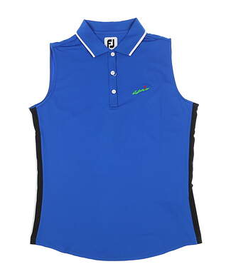 New W/ Logo Womens Footjoy Sleeveless Polo Medium M Blue/Black 25469 MSRP $82