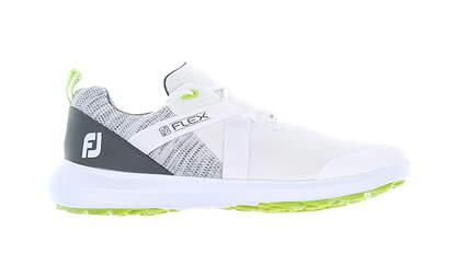 New Mens Golf Shoe Footjoy FJ Flex Medium 9 White/Grey/Green 56101 MSRP $90