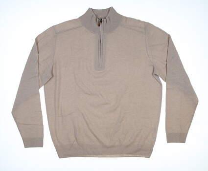 New Mens Bobby Jones 1/4 Zip Cashmere Sweater Large L Oatmeal BJ473030 MSRP $290