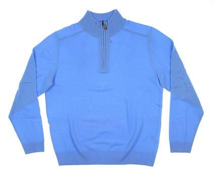 New Mens Bobby Jones 1/4 Zip Cashmere Sweater Large L Sky Blue MSRP $290