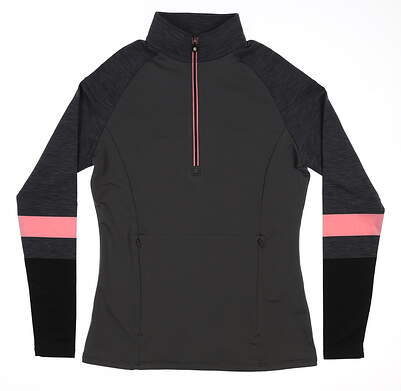 New Womens Footjoy 1/2 Zip Golf Pullover X-Small XS Charcoal/Pink 27541 MSRP $11