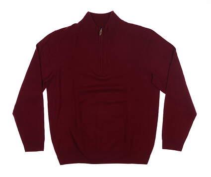 New Mens Bobby Jones 1/4 Zip Cashmere Sweater Medium M Oxblood MSRP $290
