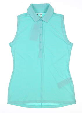 New Womens Under Armour Sleeveless Golf Polo Large L Teal UW0455 MSRP $70