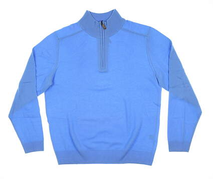New Mens Bobby Jones 1/4 Zip Cashmere Sweater Medium M Sky Blue MSRP $290