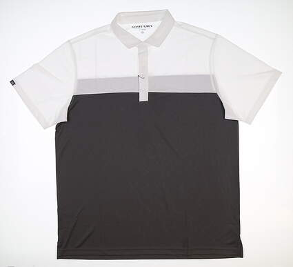 New Mens MATTE GREY Regiment Golf Polo X-Large XL White/Charcoal MSRP $80