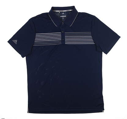 New Mens Adidas Essential Textured Golf Polo Large L Navy Blue MSRP $60