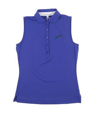 New W/ Logo Womens Fairway & Greene Sleeveless Polo X-Small Blue E32230 MSRP $79