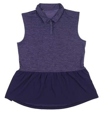 New Womens Under Armour Peplum Sleeveless Golf Polo Medium M Purple MSRP $65