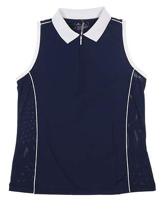 New Womens Peter Millar Sleeveless Golf Polo X-Large XL Navy Blue/White MSRP $69