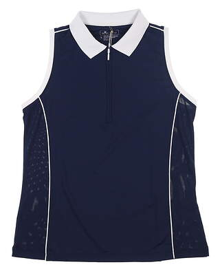 New Womens Peter Millar Sleeveless Golf Polo Large L Navy Blue/White MSRP $69