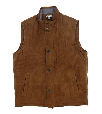 New Mens Peter Millar Worthington Suede Vest Large L Honey MF18Z17 MSRP $695