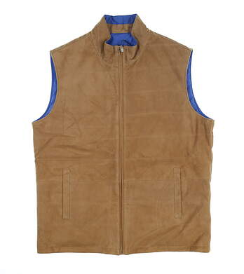 New Mens Peter Millar Reversible Suede Vest Large L Sand/Blue MS19Z20 MSRP $695