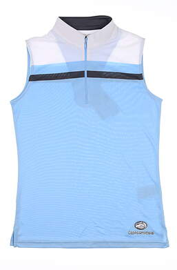 New W/ Logo Womens Footjoy Sleeveless Golf Polo Small S Blue 24705 MSRP $80